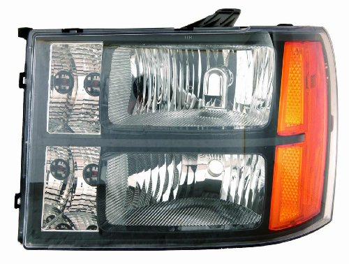 Depo 335-1147P-US2 GMC Sierra Headlight Unit with Black Bezel (Gmc Headlight Bezel)