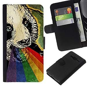 SmartPhone de piel sintética carcasa con dinero ranura tarjetas para Samsung Galaxy Core Prime // Psicodélico lindo Panda Rainbow // CooleCell