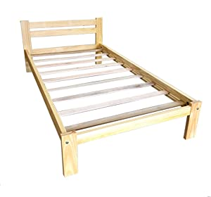 Amazonas Twin Bed Solid Pine Wood Natural Light Pine Finished Wooden Bed Boy Girl Bedroom Furniture Easy to Assemble