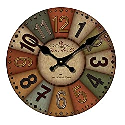 YeYo 20inch Large Retro European Style Wall Clock Wooden MDF Battery Operated Waterproof Silent Art Decor for Home Living Room Office Decoration