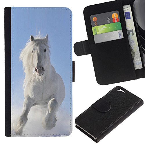 EuroCase - Apple Iphone 6 4.7 - Majestic White Winter Horse - Cuir PU Coverture Shell Armure Coque Coq Cas Etui Housse Case Cover