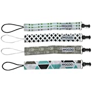 PPOGOO Pacifier Clip 4 Unisex Pacifier Clips Teething Ring Holders Modern Design for Boys and Girls