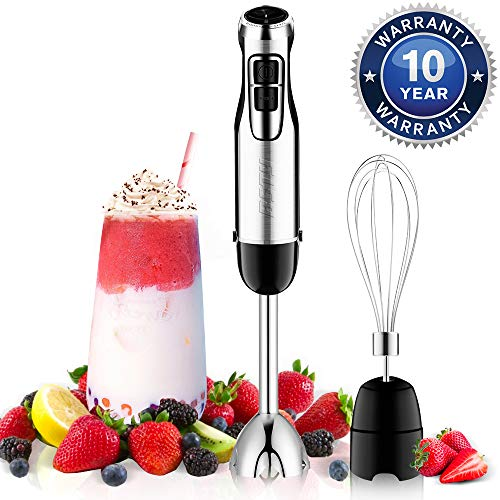 BSTY 2-in-1 Hand Blenders Set 15-Speeds Powerful Immersion Blender with 500-Watt Motor and Turbo Boost Button for Maximum Power, Hand Held Blenders