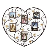 Cheap Adeco PF0598 Decorative Iron Heart-Shape Picture Frame Collage with Scroll & Burlap Flower Design, 6 Openings, 4×6, 4×4, Black