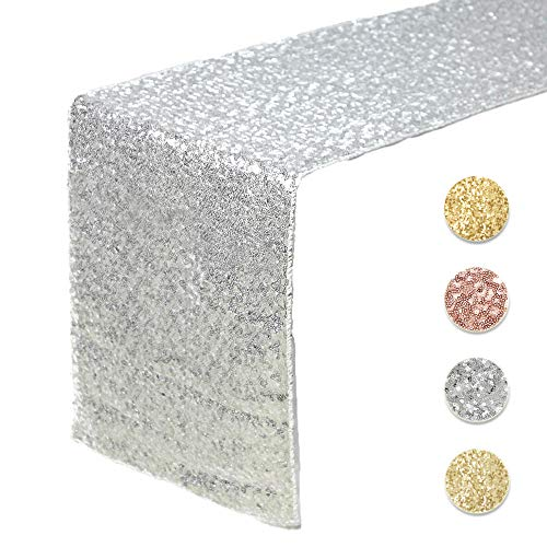 Silver Baby Shower Decorations (Sequin Table Runners SILVER- 12 X 108 Inch Glitter SILVER Table Runner-SILVER Party Supplies Fabric Decorations For Wedding Birthday Baby)