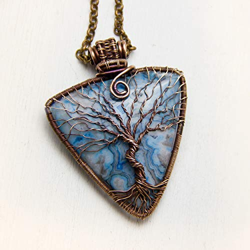 Pendant Nim - Agate Tree of life necklace Family Tree Protection amulet Copper Wire wrap Pendant Boho jewelry