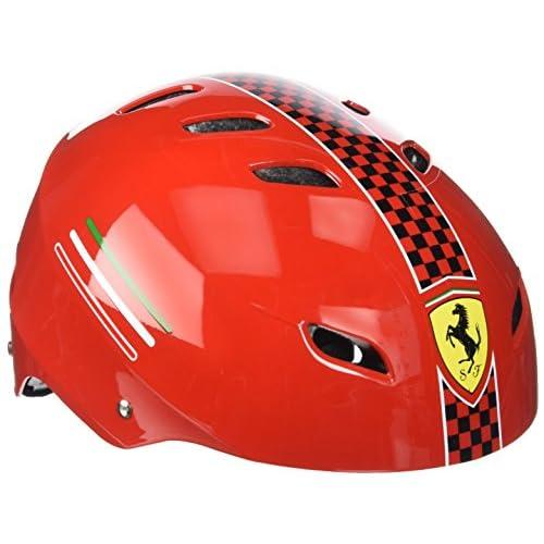 Ferrari Casque pour vélo ou skate, réglable, rouge, taille unique