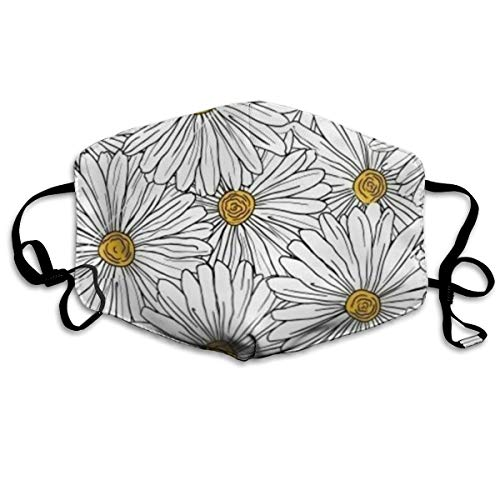 EDFYUHJ Daisy Flowers Fashion Earloop Face Masks, Anti-Dust Anti Flu Pollenm Germs Bacteria Virus Smog Face and Nose Cover with Adjustable Elastic Strap, Medical Mask
