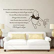 Wall Decal Decor Winnie the Pooh Pooh Bear Decal Piglet Decal -If Ever There is A Tomorrow Baby Nursery Decal Playroom Art Sticker(Medium,Black)