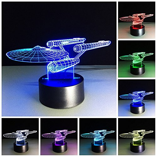 Sta Trek 3D lamp LED Table Night Light 3D Illusion Lamp -7 LED Color Changing Lamp 3D Night Lights for Home Decor Party Decor Boys Girls Birthday Gift Xmas Gift (Star-Ship)