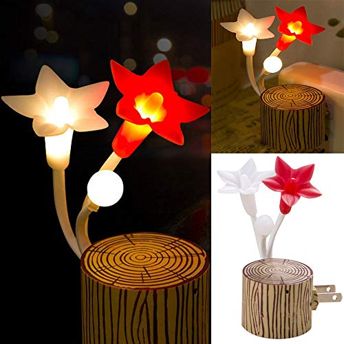 Euone LED Night Light Clearance, US Plug Fashion Flower LED Night Light Sensor Baby Bed Room Lamp Decor