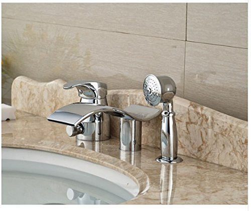 Gowe Luxury Bathroom Basin Deck Mounted Sink Faucet Waterfall Mixer tap With Hand Shower Chrome Finished 0