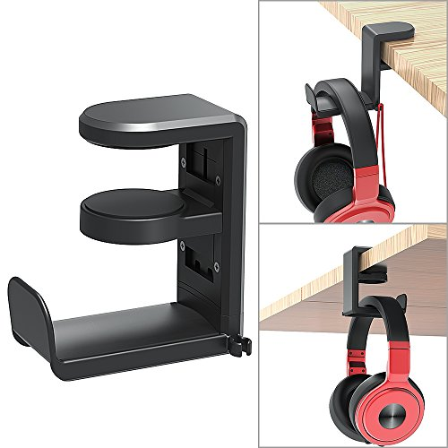 PC Gaming Headset Headphone Hook Holder Hanger Mount, Headphones Stand with Adjustable & Rotating Arm Clamp, Under Desk Design, Universal Fit, Built in Cable Clip Organizer EURPMASK ()