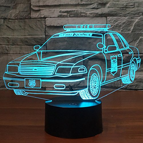 Police Car 3D Night Light Optical Illusion LED Desk Table Lamp with Touch Switch Control Button and 7 Colors Change Lighting Modes Gift Toy for Car Lover Kids Room Decoration ()