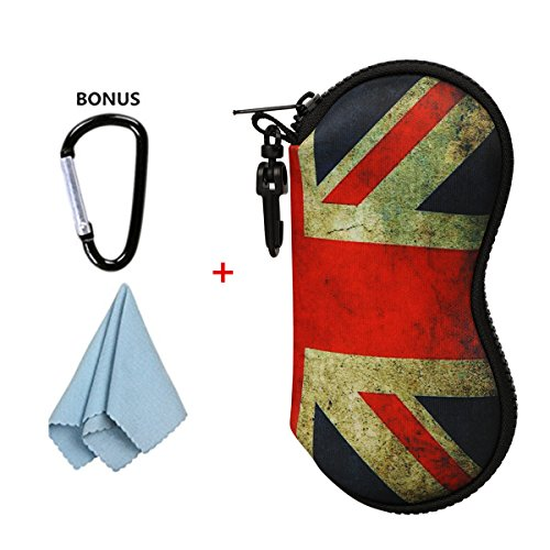 xhorizon FLK Sunglasses Ultra Light Neoprene Zipper Eyeglass Case w/ Belt Clip (UK Flag - Eyeglasses Uk