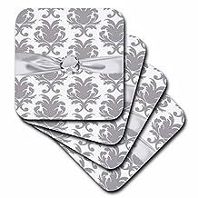 3dRose Grey White Baroque Decorative Elegant Damask Pattern Faux Diamond Ribbon Soft Coasters (Set of 4)