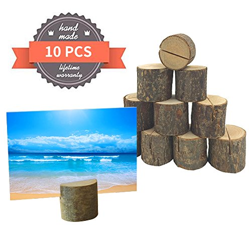 Wedding Wooden Place Card Holders Ocean-City Memo Paper Note Name Photo Clip Rustic Table Number Stands for Home Party Christmas Holiday Decorations ( 10 Pack) (Place Ocean)