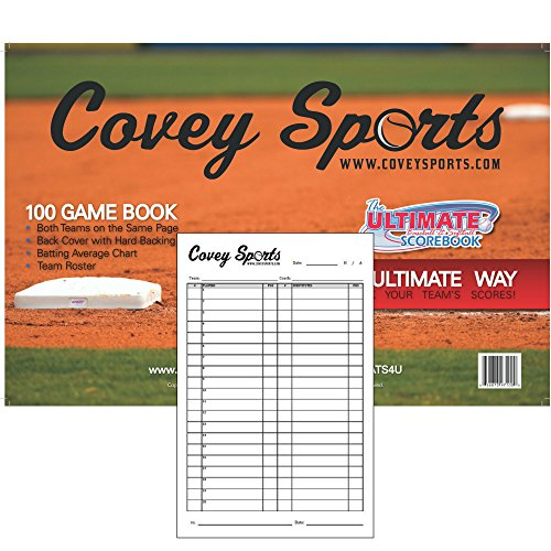 Covey Sports Baseball/Softball Scorebook Side By Side (100 Games) With Lineup Cards Pack (Large 8.5