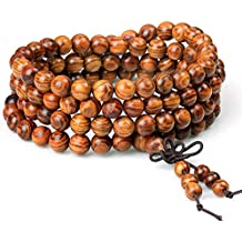 Wood Bracelet 108 Beads 8mm Diameter Tibetan Buddhist Link Wrist Sandalwood Beads Necklace Prayer Mala Elastic (108beads)