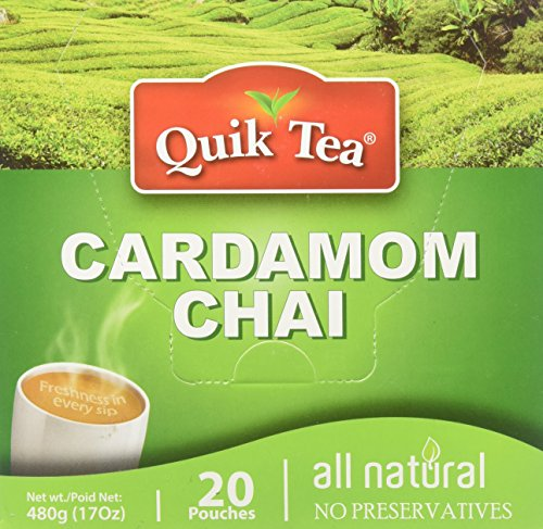 Quik Tea All Natural Cardamom Chai Latte Mix Made from Assam Teas All Natural No Preservatives 20 Pouches (480 g / 17 oz) by Quik Tea