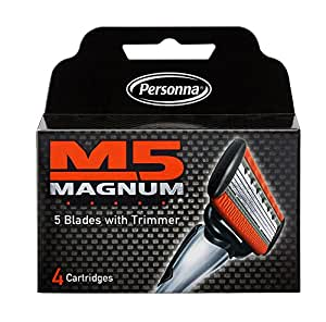 M5 Magnum Razor Blades with trimmer - 4 replacement cartridges per pack