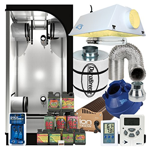 Complete 3 x 3 Grow Tent Package w/ 400W Sealed HPS HID, Carbon filter, Fan and more