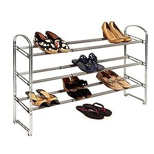 Seville Classics 3-Tier Expandable Steel Shoe Rack