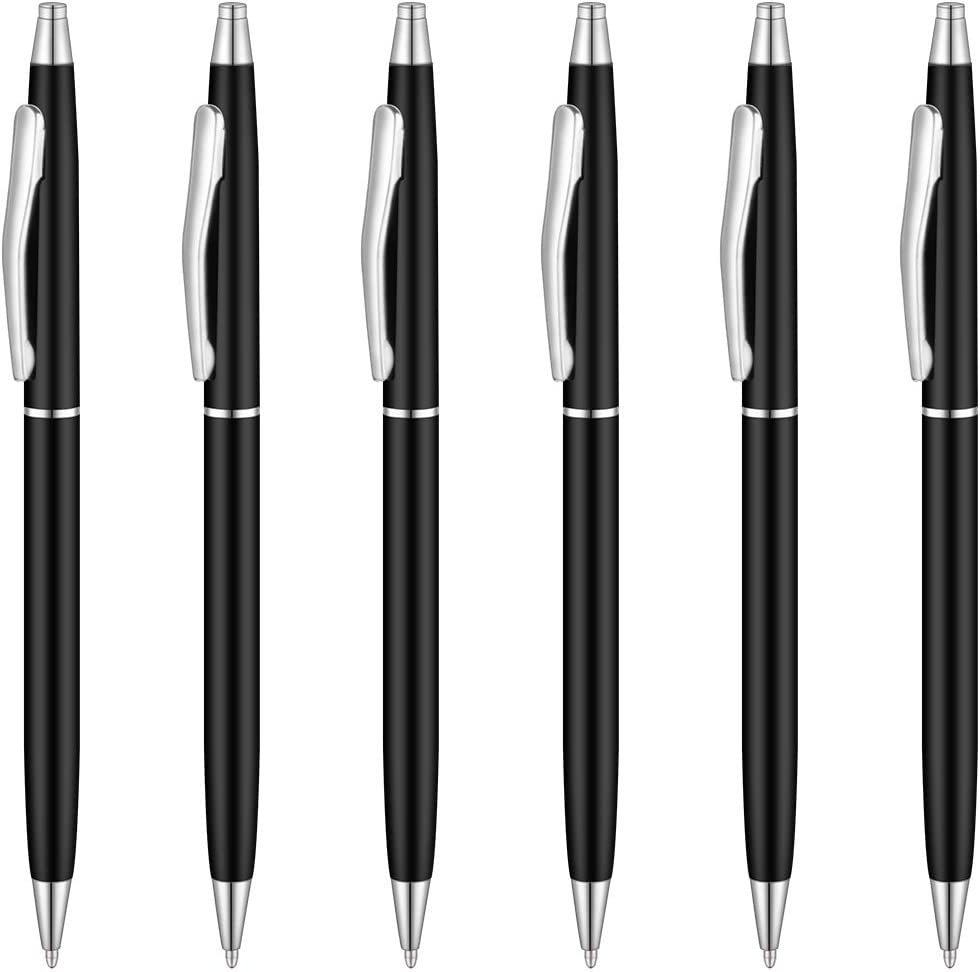 Unibene Slim Metallic Retractable Ballpoint Pens - Matte Black & Silver, Nice Gift for Police Uniform Business Office Students Teachers Wedding, Medium Point(1 mm) 6 Pack-Black ink