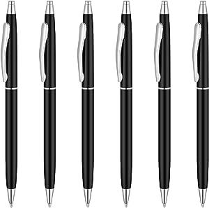 Unibene Slim Metallic Retractable Ballpoint Pens - Matte Black & Silver, Nice Gift for Police Uniform Business Office Students Teachers Wedding, Medium Point(1 mm) 6 Pack-Black ink