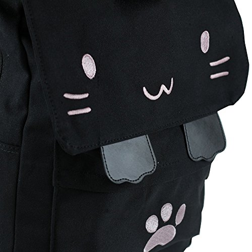 64544537e2fb Black College Cute Cat Embroidery Canvas School Laptop Backpack Bags For Women  Kids Plus Size Japanese