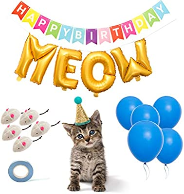 BINGPET 14 PCS Cat Birthday Party Supplies with Cat Birthday Hat, Cat Chew Toys, Letter Balloons, Blue Latex Balloons, Happy Birthday Banner and Blue ...
