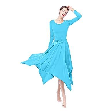 e168e752797b Womens Long Maxi Circle Dance Skirt Irregular Hem Liturgical Praise Dance  Dress Long Sleeve Slim Fit