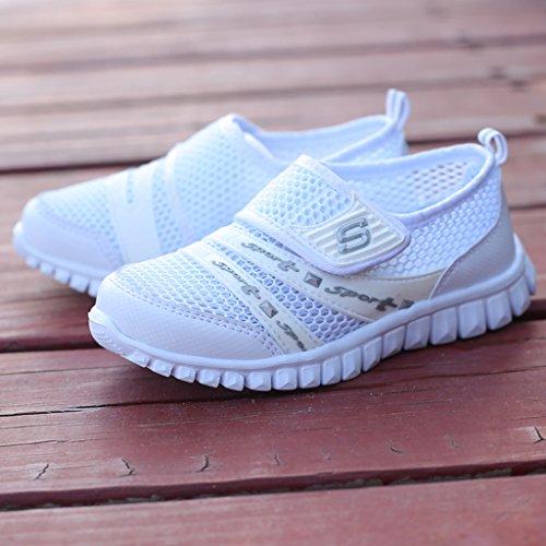 Eagsouni® Unisex-niños Malla transpirable velcro/Zapatos del ocio/Peso ligero transpirables zapatillas Blanco
