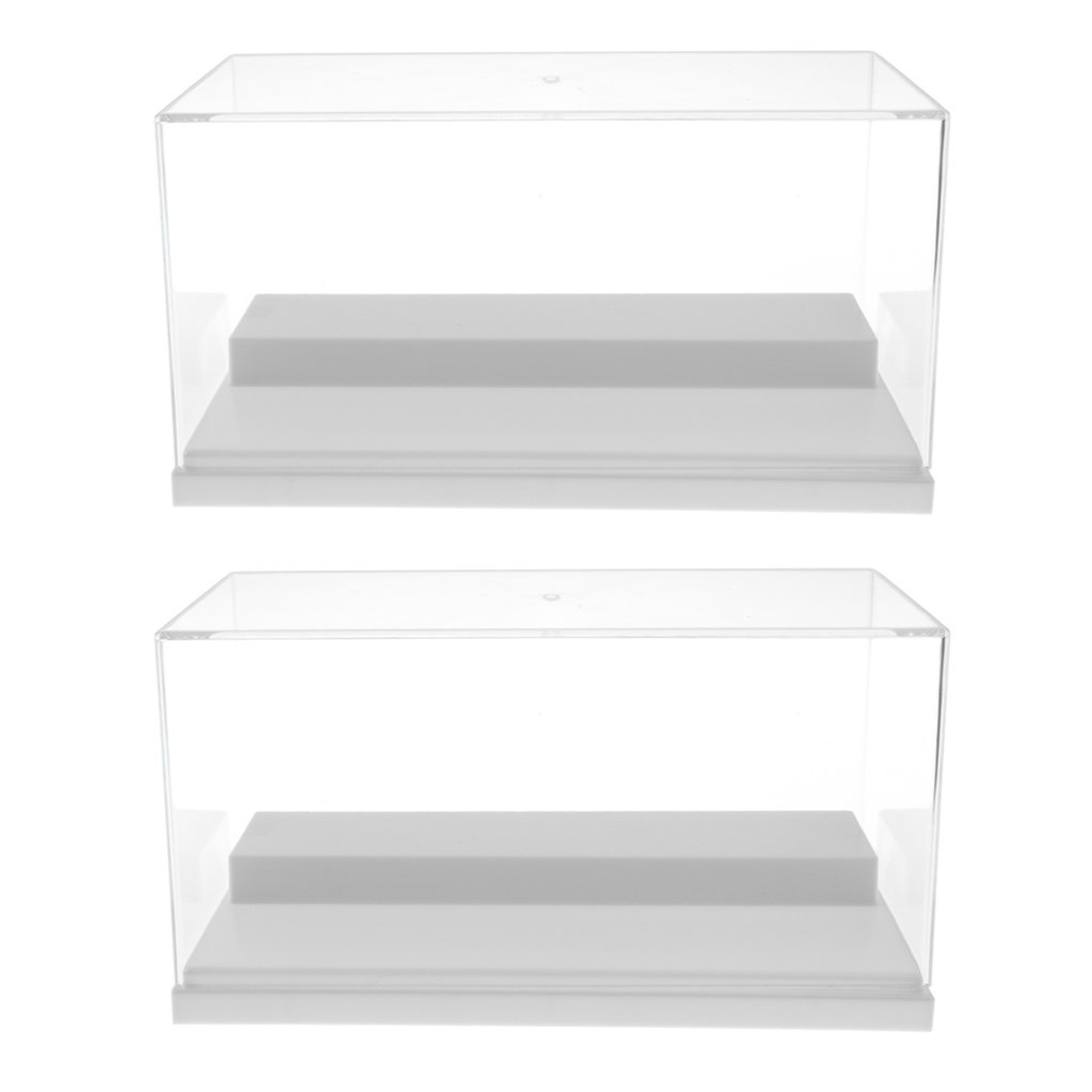 Homyl 2pcs Clear Acrylic Display Show Case Box 2 Steps Perspex Dustproof Protection for Figures Diecast Vehicle Car Doll Model Figurine Collection White