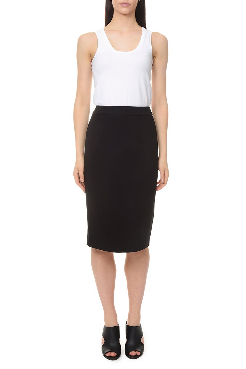 LM StyleBar Womens Premium Stretch Crepe Pencil Skirt with Pockets 14 Black