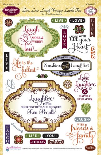 Justrite 30-Piece Papercraft Clear Stamp Set, 6 by 8-Inch, Live, Love Laugh Vintage Labels