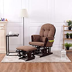 Costzon Baby Glider and Ottoman Cushion Set (Brown)