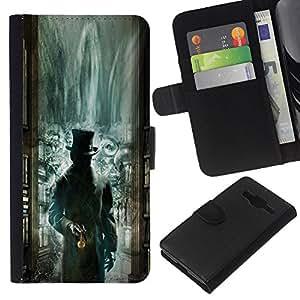 EJOY---La carpeta del tirón la caja de cuero de alta calidad de la PU Caso protector / Samsung Galaxy Core Prime / --Biblioteca Verde Kids Misteriosas