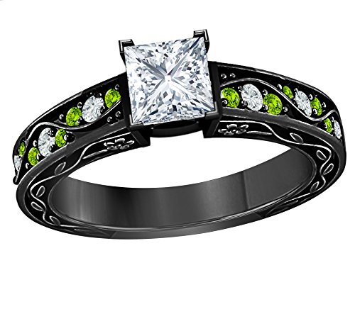 Star Retail 1.00 CT Princess Cut Simulated CZ Diamond & Green Peridot 14k Black Gold Finish Engagement Ring for Womens