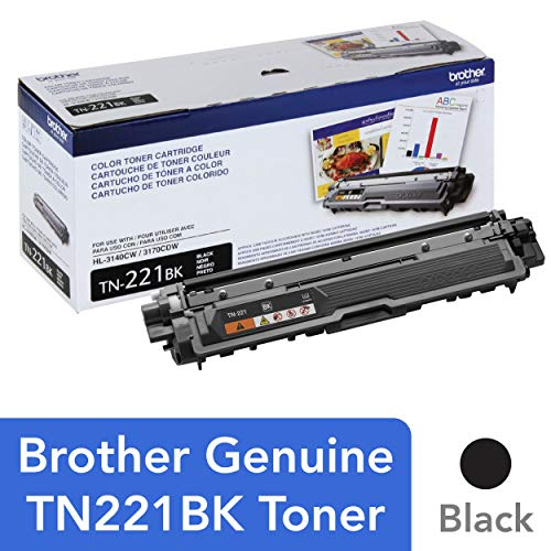 - Brother Genuine Standard Yield Toner Cartridge, TN221BK, Replacement Black Toner, Page Yield Up To 2,500 Pages, Amazon Dash Replenishment Cartridge, TN221