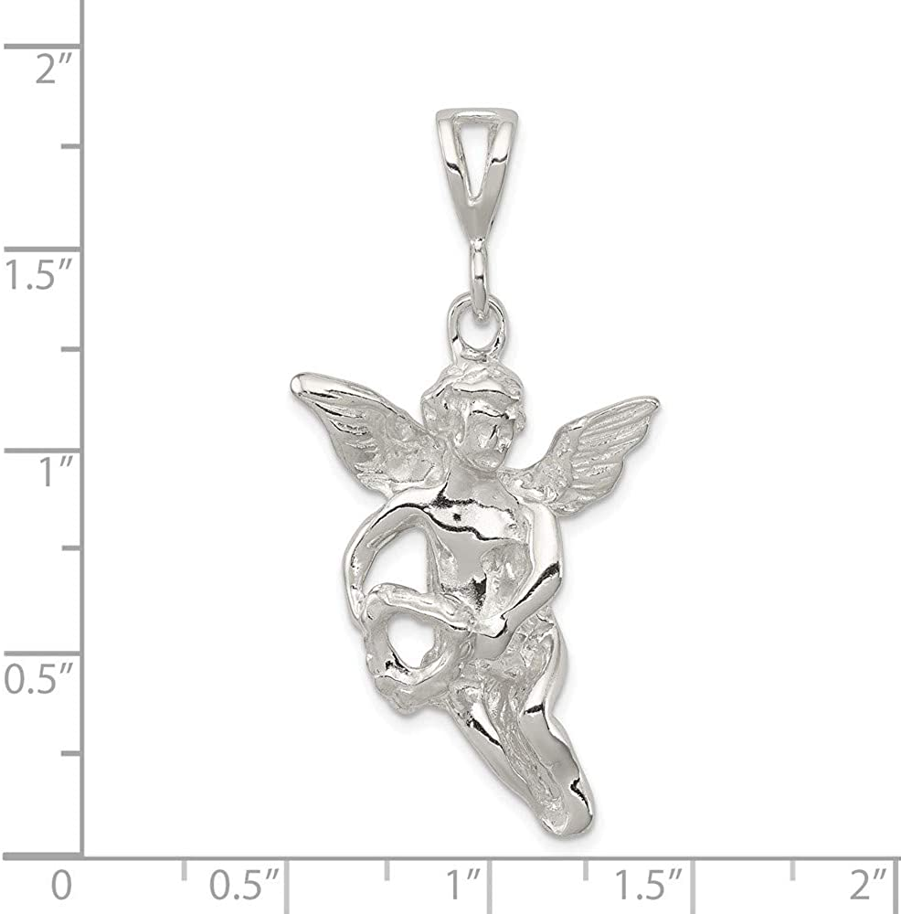 925 Sterling Silver Polished /& Textured Flying Angel with Heart Charm Pendant