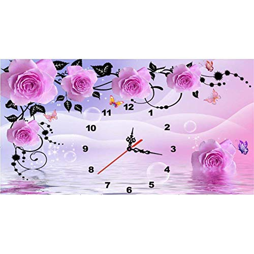 5D Diamond Painting Kits for Adults Clock Flower feilin Full Drill, DIY Cross Stitch Crystal Mosaic Picture Artwork for Home Wall Decor Gift 60x40cm