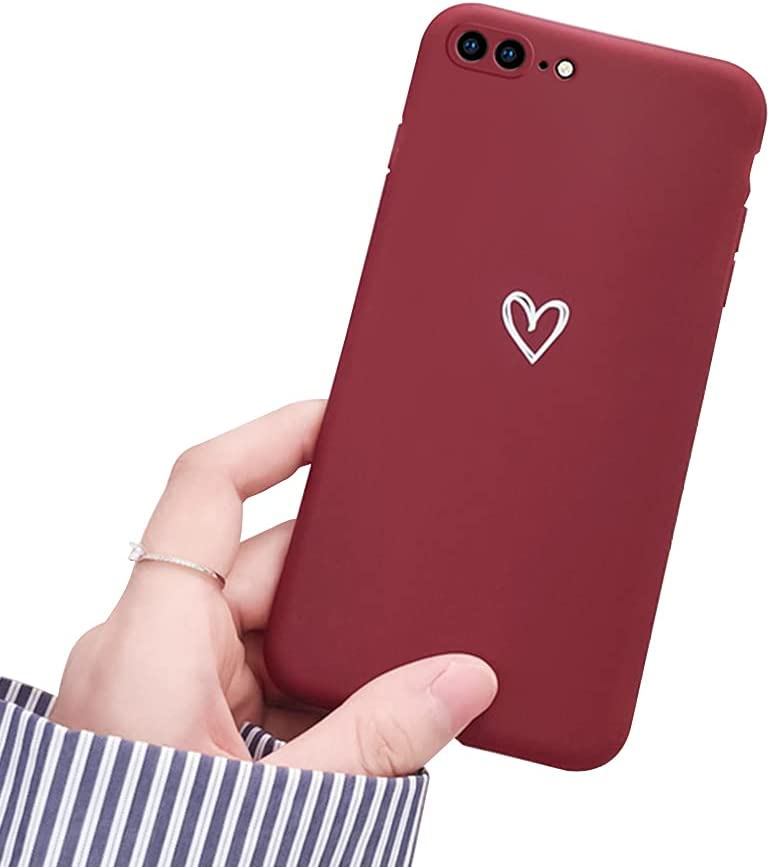 Ownest Compatible with iPhone 7 Plus Case, iPhone 8 Plus Case for Soft Liquid Silicone Heart Pattern Slim Protective Shockproof Case for Women Girls for iPhone 7 Plus/8 Plus-Red Wine