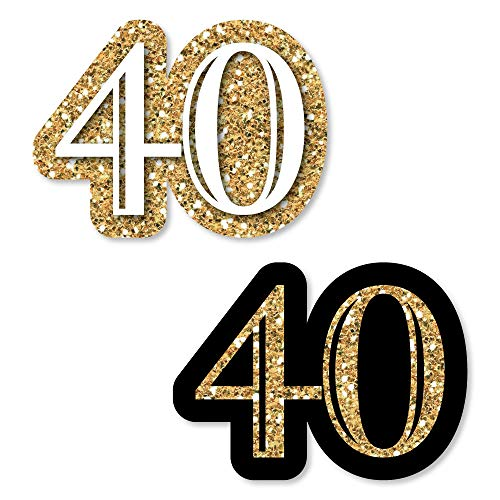 Big Dot of Happiness Adult 40th Birthday - Gold - DIY Shaped Birthday Party Cut-Outs - 24 Count