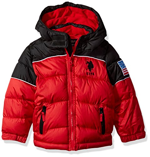 US Polo Association Little Boys' Bubble Jacket (More Styles Available), UB35-Winning Red, 5/6