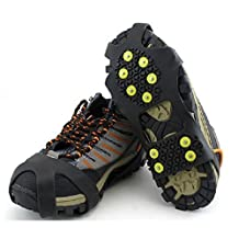 Outop 10 Steel Studs Stretchable Walk Stabilicers Ice Grips Traction Cleat for Boots and Shoe