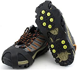 Outop 10 Steel Studs Stretchable Walk Stabilicers Ice Grips Traction Cleat for Boots and Shoe M