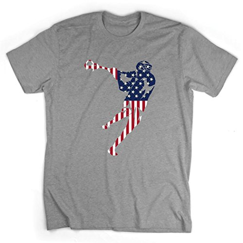 Youth Lacrosse Jersey Shirt - American Flag Silhouette T-Shirt | Guys Lacrosse Tees by ChalkTalk SPORTS | Gray | Youth Medium