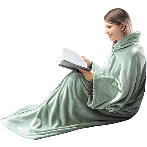 HONEYMOON HOME FASHIONS Fleece Flannel Wearable Blanket for Adult 2-in-1 Cozy Fuzzy Fluffy Soft Snuggle Throw with Horn Button and Zipper Closure, Earthy Green - Snuggle Flannel