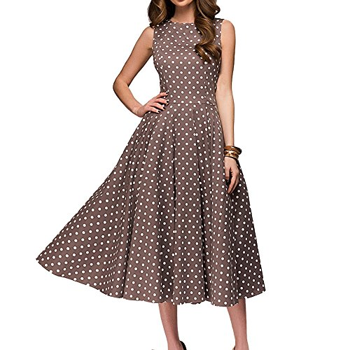 Simple Flavor Women's Vintage Dress Sleeveless O-Neck Party Cocktail Dress (Brown, L) ()